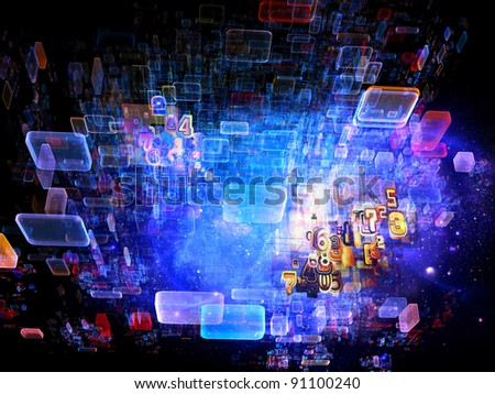 Interplay of numbers, abstract rectangular units, colors and light on the subject of cloud computing, data storage and modern technologies