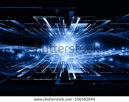 Interplay of perspective fractal grids, lights, mathematical wave and sine patterns on the subject of modern technologies, science of energy, signal processing, music and entertainment - stock photo