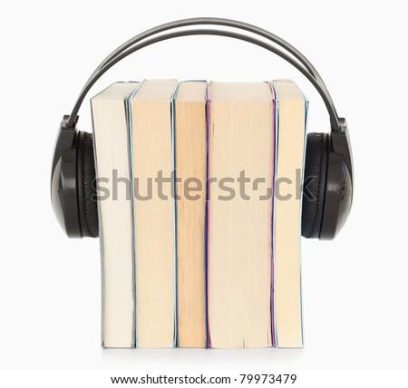 Interpretation a the audio book concept against a white background - stock photo