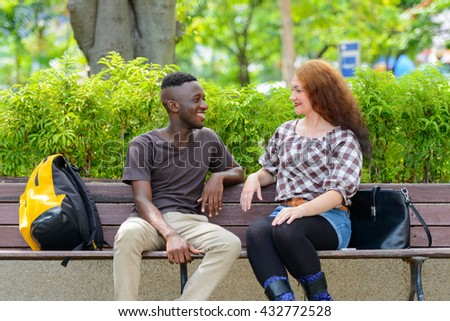 Interracial couple - stock photo