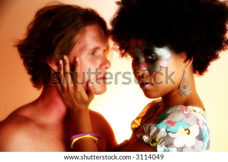 Interracial couple headshot.  Caucasian man and Asian Indonesian woman. - stock photo
