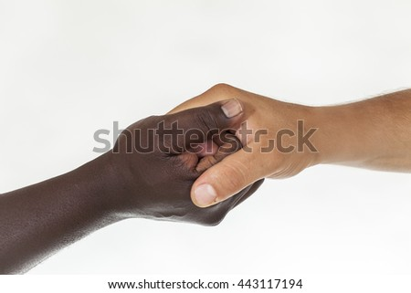 Interracial forearm shake,  helping , humanity and brotherhood concept. White background - stock photo