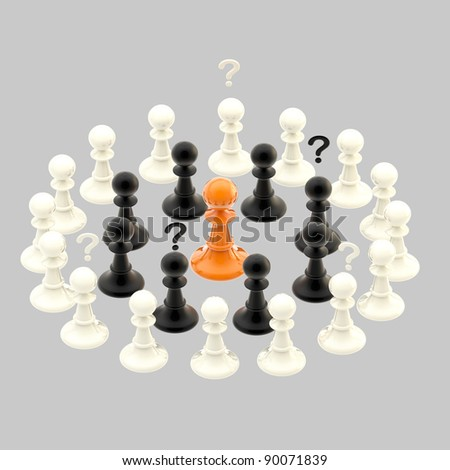 Interracial issues and misunderstanding conception illustrated as a group of chess pawns isolated on grey