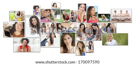 Interracial mixed race women enjoying a healthy active lifestyle relaxing at home, outside, using laptop computer, mobile cell phone, shopping, drinking tea & coffee, listening to music, working out - stock photo
