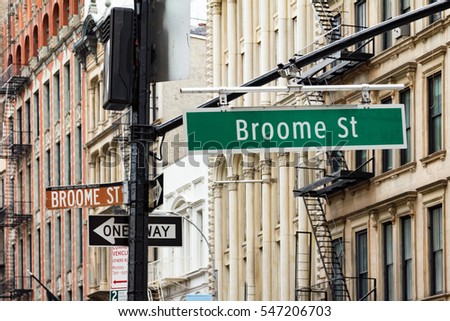 Intersection of Broadway and Broome Street in the Soho area of Manhattan, New York City