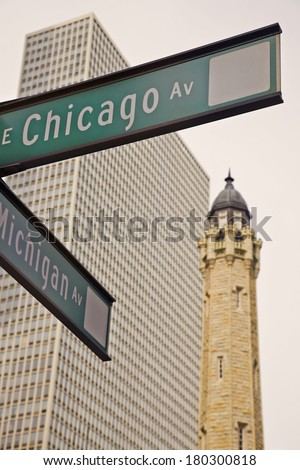 Intersection of CHicago and Michigan Avenues - Magnificent Mile. - stock photo