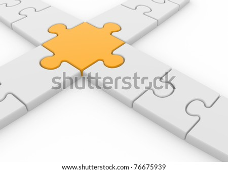 Intersection of puzzle pieces - This is a 3d render illustration - stock photo