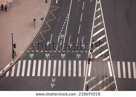 Intersection of urban roads with no traffic - stock photo