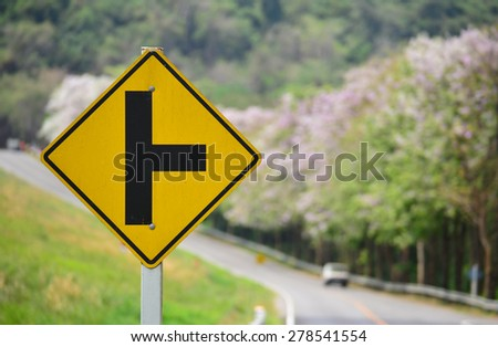intersection traffic sign for safety on the road - stock photo