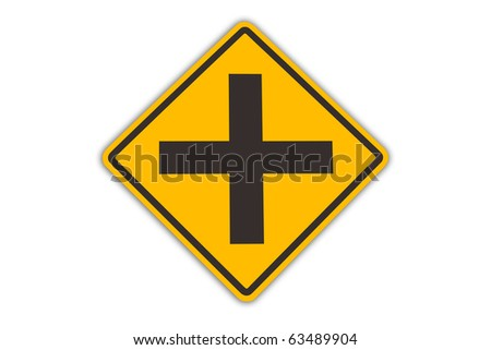 intersection warning sigh isolated - stock photo