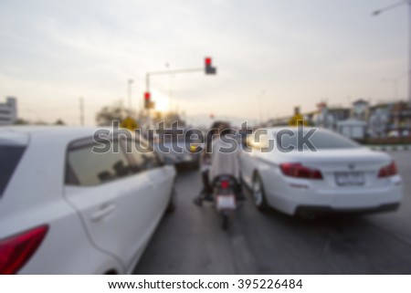 intersection with traffic jam (Blur picture) - stock photo