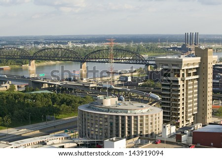 Interstate 55 highway and MacArther Bridge over Mississippi into St. Louis, Missouri - stock photo