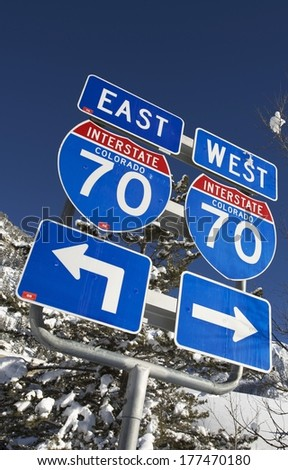 Interstate 70 Highway Colorado Signs. East and West Entrance. - stock photo