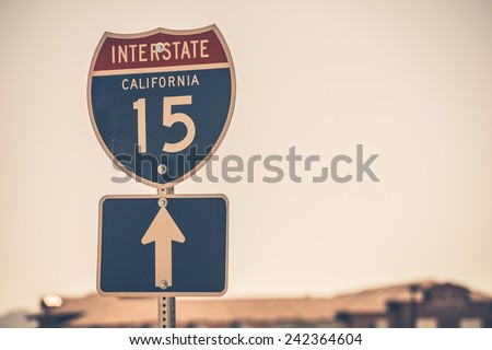 Interstate Highway 15 Sign. American Highways System. - stock photo