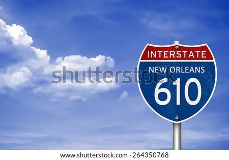 Interstate Highway to New Orleans, Louisiana - stock photo