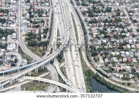 Interstate intersection, aerial view.