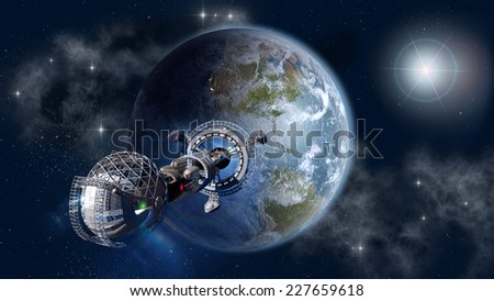 Interstellar spaceship leaving Earth as a 3D concept for futuristic deep space travel for sci-fi backgrounds. Elements of this image furnished by NASA. - stock photo