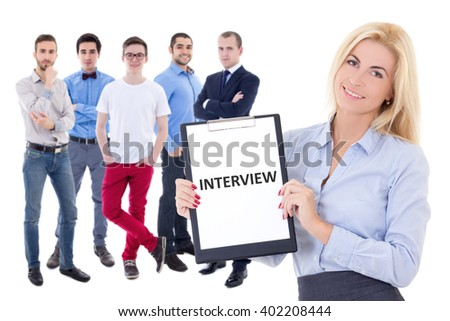 interview and job search concept - business people isolated on white background - stock photo