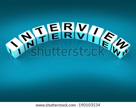 Interview Blocks Meaning Conversation or Dialogue When Interviewing - stock photo