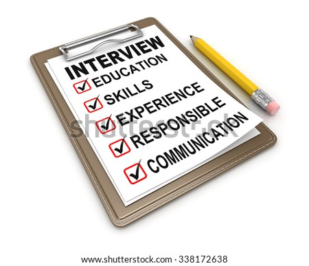 Interview Checklist , This is a computer generated and 3d rendered picture. - stock photo
