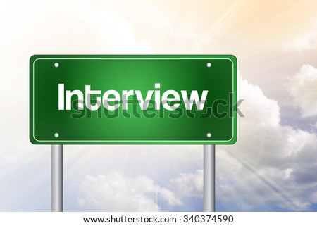 Interview green road sign, business concept - stock photo