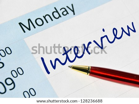 Interview note in the agenda - stock photo