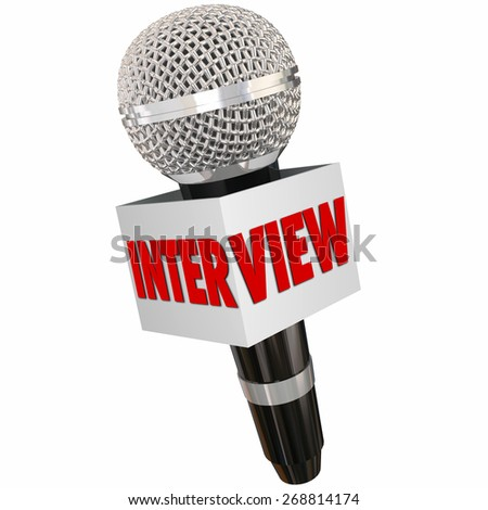 Interview word on a reporter's microphone to illustrate asking questions and getting answers and information from a person or subject - stock photo