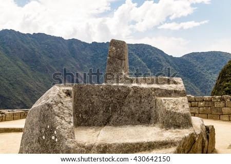 Intihuatana Altar. Machu Picchu, Cusco, Peru, South America. A UNESCO World Heritage Site - stock photo