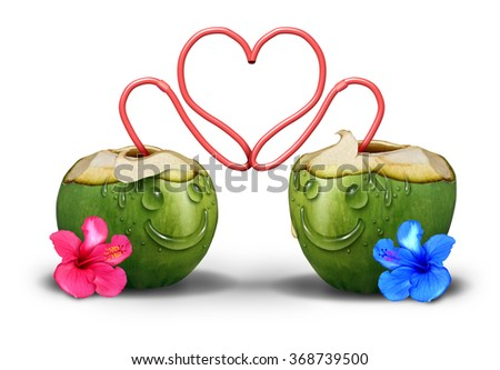 Intimate couple romantically in love as two coconut tropical drinks with faces made of water drops and straws embracing and hugging together as a cute relationship symbol and a valentine day icon. - stock photo