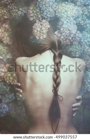 intimate woman portrait with flowers composed image