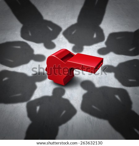 Intimidation of whistleblower concept and whistle blower stress symbol as pressure for exposing corruption with shadows of people who do not follw the rules as a red whistler shaped as a human head. - stock photo