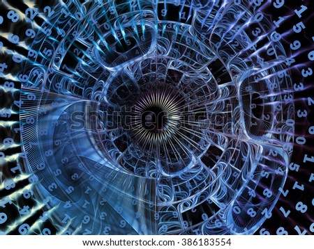 Into Infinity series. Abstract composition of fractal patterns, curves and symbols suitable as element in projects related to math, technology, science and education - stock photo