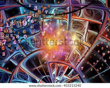 Into Infinity series. Backdrop design of fractal patterns, curves and symbols for works on math, technology, science and education - stock photo