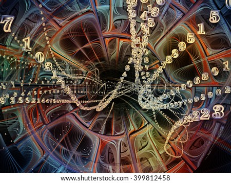 Into Infinity series. Backdrop of fractal patterns, curves and symbols on the subject of math, technology, science and education - stock photo
