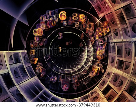Into Infinity series. Composition of fractal patterns, curves and symbols on the subject of math, technology, science and education - stock photo