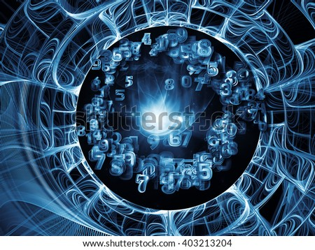 Into Infinity series. Composition of fractal patterns, curves and symbols with metaphorical relationship to math, technology, science and education - stock photo