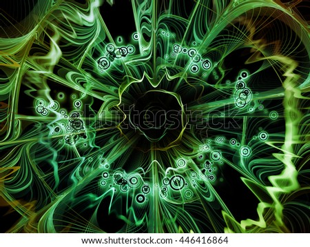 Into Infinity series. Graphic composition of fractal patterns, curves and symbols  for subject of math, technology, science and education - stock photo
