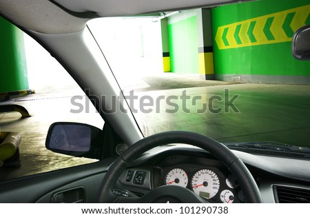 Into the car. Parking under ground. - stock photo