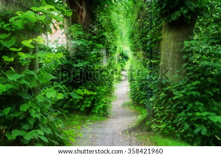Into the Light, Footpath through the Barbarossa Wall in Dusseldorf Kaiserswerth. Intentional blur. - stock photo