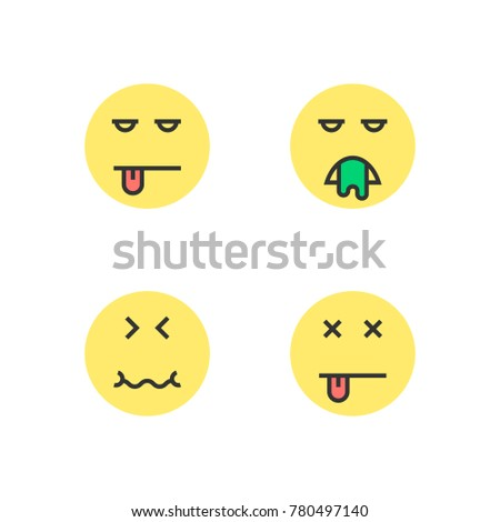 Intoxication Yellow Thin Line Emoji Concept Of Wc Bad Diet Puke Fever