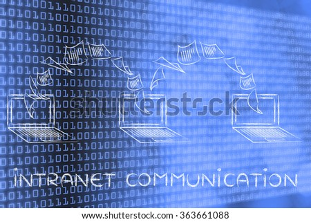 intranet communication: laptops with documents flying among screens on binary code & bokeh background - stock photo