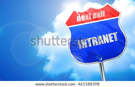 intranet, 3D rendering, blue street sign
