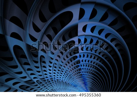 Intricate blue and silver abstract woven 3D arch design on black background