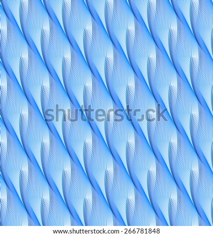 Intricate blue / cyan / navy abstract ripple / wave design on white background (tile able) - stock photo
