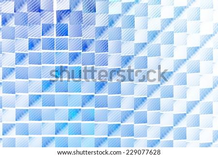 Intricate blue diagonal tiled stripes on white background - stock photo