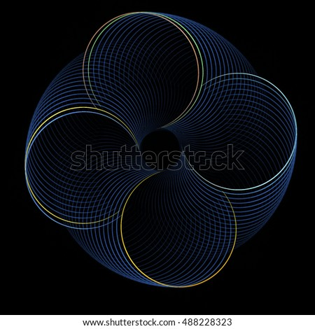 Intricate blue / gold abstract rotating disc / spring design on black background