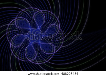 Intricate blue, green and purple ornate woven flower design on black background