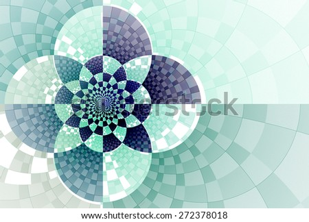 Intricate blue, green and teal abstract checkered flower design on white background  - stock photo
