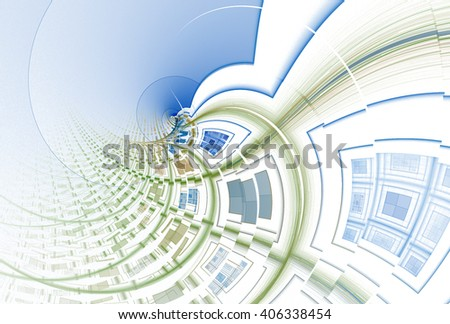 Intricate blue, green and yellow abstract spiral checkered curve design on white background  - stock photo