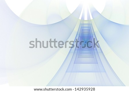 Intricate blue, green, lime and purple rectangle ' bridge' on white background